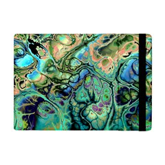 Fractal Batik Art Teal Turquoise Salmon Apple Ipad Mini Flip Case by EDDArt