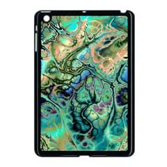 Fractal Batik Art Teal Turquoise Salmon Apple Ipad Mini Case (black) by EDDArt