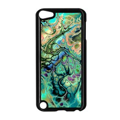 Fractal Batik Art Teal Turquoise Salmon Apple Ipod Touch 5 Case (black) by EDDArt