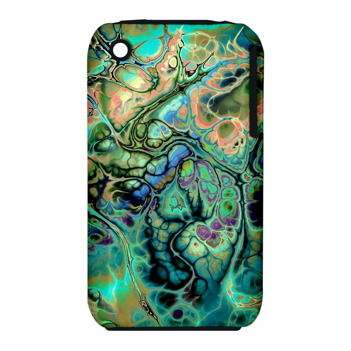 Fractal Batik Art Teal Turquoise Salmon Apple iPhone 3G/3GS Hardshell Case (PC+Silicone)