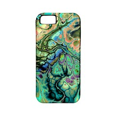 Fractal Batik Art Teal Turquoise Salmon Apple Iphone 5 Classic Hardshell Case (pc+silicone)