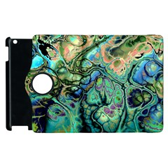 Fractal Batik Art Teal Turquoise Salmon Apple Ipad 3/4 Flip 360 Case by EDDArt