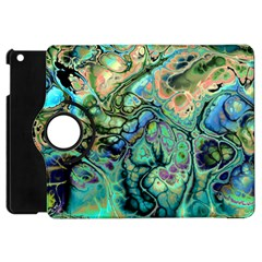 Fractal Batik Art Teal Turquoise Salmon Apple Ipad Mini Flip 360 Case by EDDArt