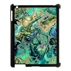 Fractal Batik Art Teal Turquoise Salmon Apple Ipad 3/4 Case (black) by EDDArt