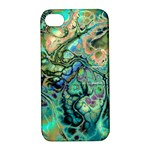 Fractal Batik Art Teal Turquoise Salmon Apple iPhone 4/4S Hardshell Case with Stand