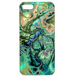 Fractal Batik Art Teal Turquoise Salmon Apple iPhone 5 Hardshell Case with Stand