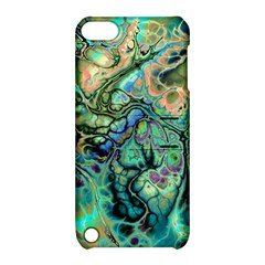 Fractal Batik Art Teal Turquoise Salmon Apple Ipod Touch 5 Hardshell Case With Stand