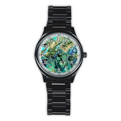 Fractal Batik Art Teal Turquoise Salmon Stainless Steel Round Watch