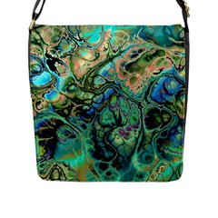 Fractal Batik Art Teal Turquoise Salmon Flap Messenger Bag (l)  by EDDArt