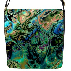Fractal Batik Art Teal Turquoise Salmon Flap Messenger Bag (s) by EDDArt
