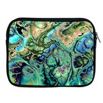 Fractal Batik Art Teal Turquoise Salmon Apple iPad 2/3/4 Zipper Cases Front