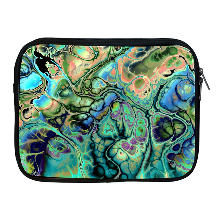 Fractal Batik Art Teal Turquoise Salmon Apple iPad 2/3/4 Zipper Cases