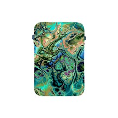 Fractal Batik Art Teal Turquoise Salmon Apple Ipad Mini Protective Soft Cases by EDDArt