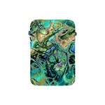Fractal Batik Art Teal Turquoise Salmon Apple iPad Mini Protective Soft Cases Front