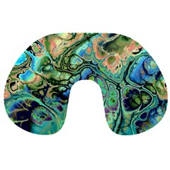 Fractal Batik Art Teal Turquoise Salmon Travel Neck Pillows