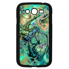 Fractal Batik Art Teal Turquoise Salmon Samsung Galaxy Grand Duos I9082 Case (black) by EDDArt