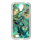 Fractal Batik Art Teal Turquoise Salmon Samsung GALAXY S4 I9500/ I9505 Case (White)