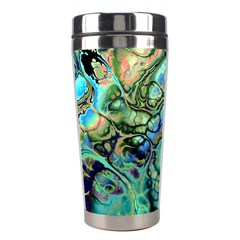 Fractal Batik Art Teal Turquoise Salmon Stainless Steel Travel Tumblers by EDDArt