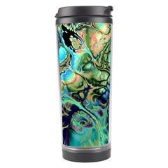 Fractal Batik Art Teal Turquoise Salmon Travel Tumbler by EDDArt