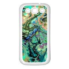 Fractal Batik Art Teal Turquoise Salmon Samsung Galaxy S3 Back Case (white)