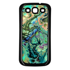 Fractal Batik Art Teal Turquoise Salmon Samsung Galaxy S3 Back Case (black)