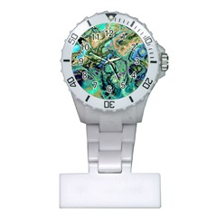 Fractal Batik Art Teal Turquoise Salmon Plastic Nurses Watch