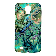 Fractal Batik Art Teal Turquoise Salmon Galaxy S4 Active by EDDArt