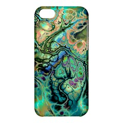 Fractal Batik Art Teal Turquoise Salmon Apple Iphone 5c Hardshell Case by EDDArt