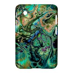 Fractal Batik Art Teal Turquoise Salmon Samsung Galaxy Tab 2 (7 ) P3100 Hardshell Case