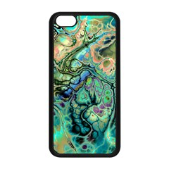 Fractal Batik Art Teal Turquoise Salmon Apple Iphone 5c Seamless Case (black)