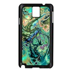 Fractal Batik Art Teal Turquoise Salmon Samsung Galaxy Note 3 N9005 Case (Black) Front