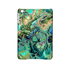 Fractal Batik Art Teal Turquoise Salmon Ipad Mini 2 Hardshell Cases by EDDArt