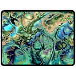 Fractal Batik Art Teal Turquoise Salmon Double Sided Fleece Blanket (Large)