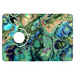 Fractal Batik Art Teal Turquoise Salmon Kindle Fire Hdx Flip 360 Case by EDDArt