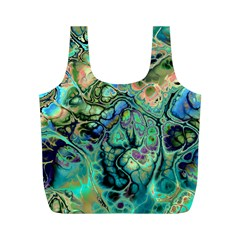Fractal Batik Art Teal Turquoise Salmon Full Print Recycle Bags (m)  by EDDArt