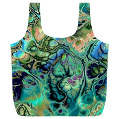 Fractal Batik Art Teal Turquoise Salmon Full Print Recycle Bags (l)  by EDDArt