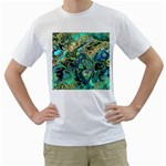 Fractal Batik Art Teal Turquoise Salmon Men s T-Shirt (White)  Front