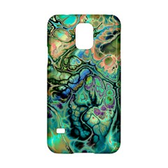 Fractal Batik Art Teal Turquoise Salmon Samsung Galaxy S5 Hardshell Case  by EDDArt