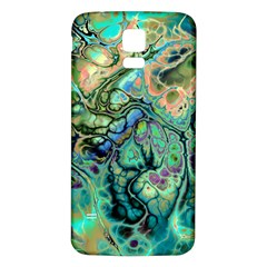 Fractal Batik Art Teal Turquoise Salmon Samsung Galaxy S5 Back Case (white) by EDDArt