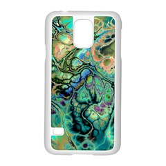 Fractal Batik Art Teal Turquoise Salmon Samsung Galaxy S5 Case (white) by EDDArt