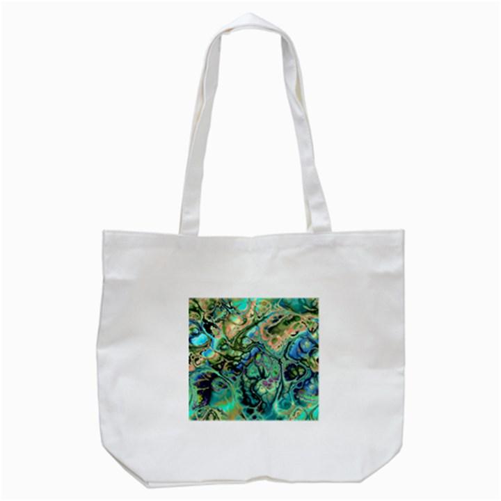 Fractal Batik Art Teal Turquoise Salmon Tote Bag (White)