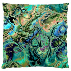 Fractal Batik Art Teal Turquoise Salmon Large Flano Cushion Case (one Side) by EDDArt