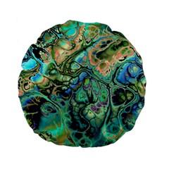Fractal Batik Art Teal Turquoise Salmon Standard 15  Premium Flano Round Cushions by EDDArt