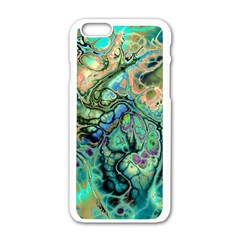 Fractal Batik Art Teal Turquoise Salmon Apple Iphone 6/6s White Enamel Case