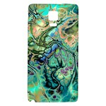 Fractal Batik Art Teal Turquoise Salmon Galaxy Note 4 Back Case Front