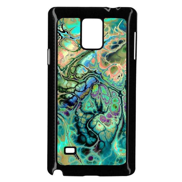 Fractal Batik Art Teal Turquoise Salmon Samsung Galaxy Note 4 Case (Black)