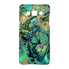 Fractal Batik Art Teal Turquoise Salmon Samsung Galaxy A5 Hardshell Case