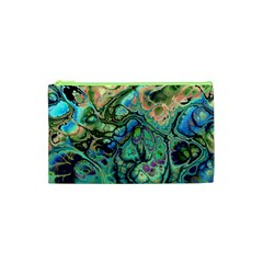 Fractal Batik Art Teal Turquoise Salmon Cosmetic Bag (xs) by EDDArt