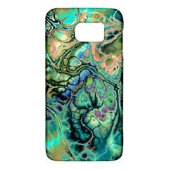 Fractal Batik Art Teal Turquoise Salmon Galaxy S6 by EDDArt