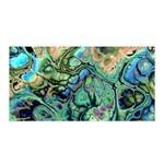 Fractal Batik Art Teal Turquoise Salmon Satin Wrap